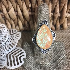 NWT Opal Quartz ring - sterling silver plated